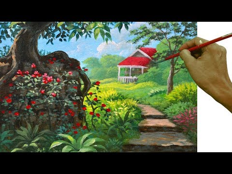 Acrylic Landscape Painting Tutorial The tree in the Flower Garden with Path to House by JM Lisondra