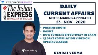 23-Nov-2020 | Daily Current Affairs | Indian Express News Paper | UPSC CSE/IAS 2021 | Devraj Verma
