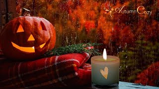 ☔️🎃 AUTUMN RAIN ON WINDOW AMBIENCE: Woodwick Candle, Rain, Scribbles, Tea Pouring, Creaking