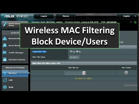 ASUS Router Wireless MAC Filtering Settings (Allow / Block Users)