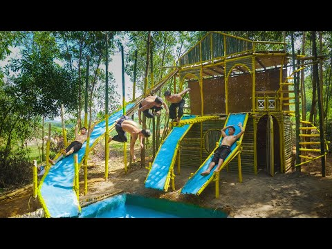 Dig To Build Swimming Pool Water Slide And Diving Around The Modern Bamboo House