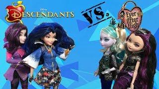 disney descendants mal evie vs ever after high faybelle thorn raven queen  doll comparisons