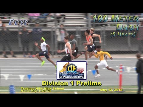 2018 TF - CIF-ss Prelims (D1) - 100 (Boys, 5 Heats)