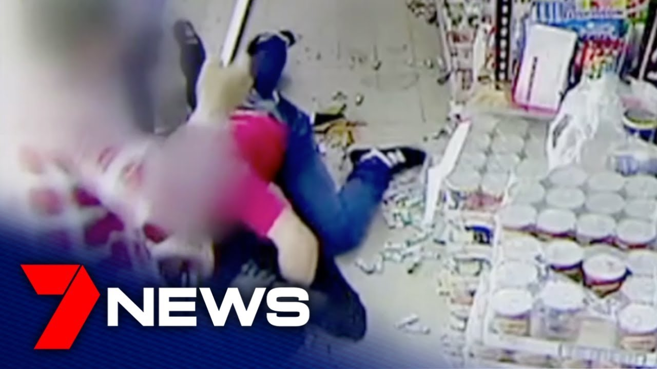 A family fights back against crime, taking on a gunman as he tries to rob them | 7NEWS