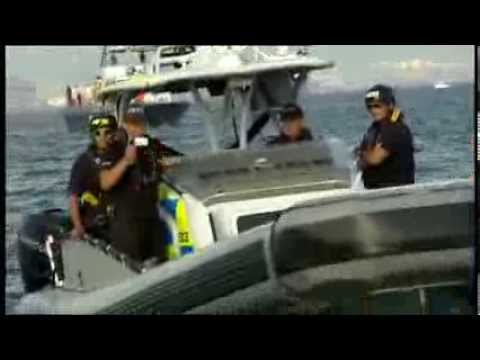 Gibraltar waters flotilla dispute sumary on BBC1 Weekend News 18/08/13