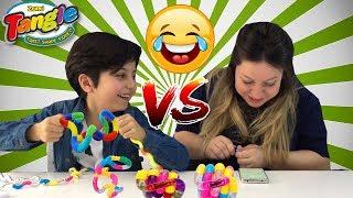 TANGLE TONGUE TWISTER CHALLENGE! ANNEMLE TANGLE OYUNCAK TEKERLEME CHALLENGE YAPTIK! Funny Kids Video