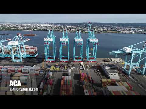 Port Newark-Elizabeth NJ Marine Terminal Stock Aerial Footage