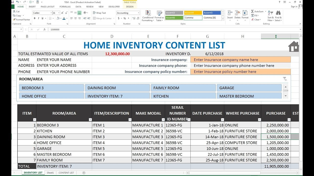 193 How To Make Home Inventory Content List Record In Excel Hindi Youtube