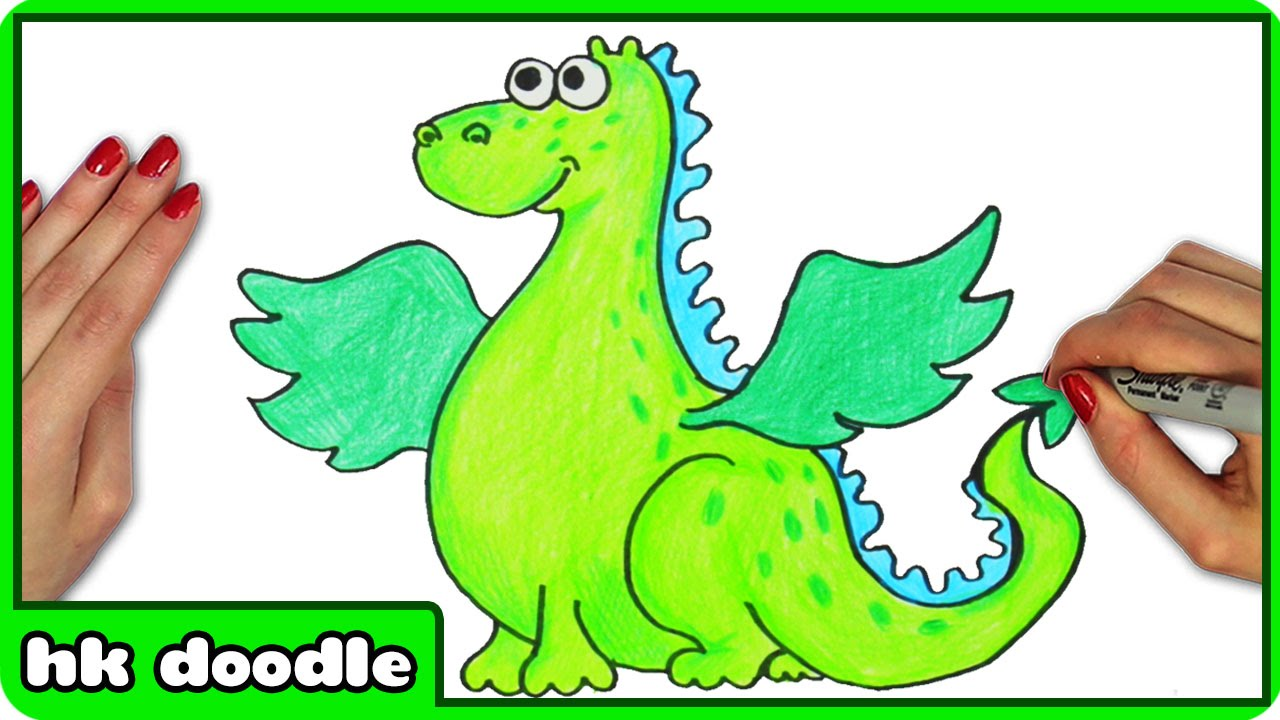 how to draw a dragon easy step by step cute animal drawing tutorial for kids by hooplakidz doodle youtube