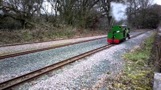 Ruislip Lido Railway steam loco coupling up to its carriages