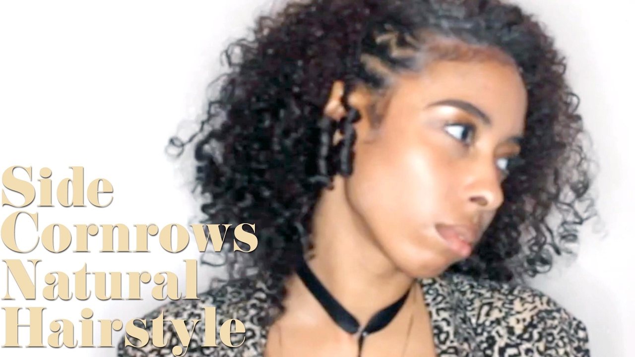Side Cornrows On A Braid Out Natural Hairstyle Youtube
