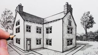 See How to Draw a House in 2-Point Perspective. See same house, but...