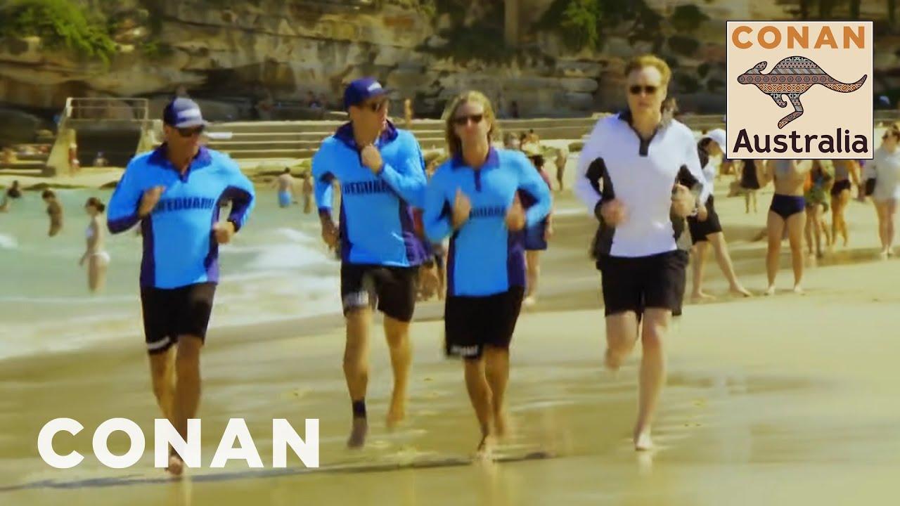 Conan Becomes A Bondi Beach Lifeguard Conan On Tbs Youtube