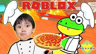 Ryan Plays Roblox Working at Pizza Shop with Gus the Gummy Gator