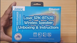 Laser SPK-BT520 Wireless Speaker Unboxing and Instructions