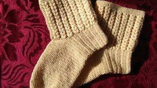 Носки крючком пышными столбиками / How crochet socks