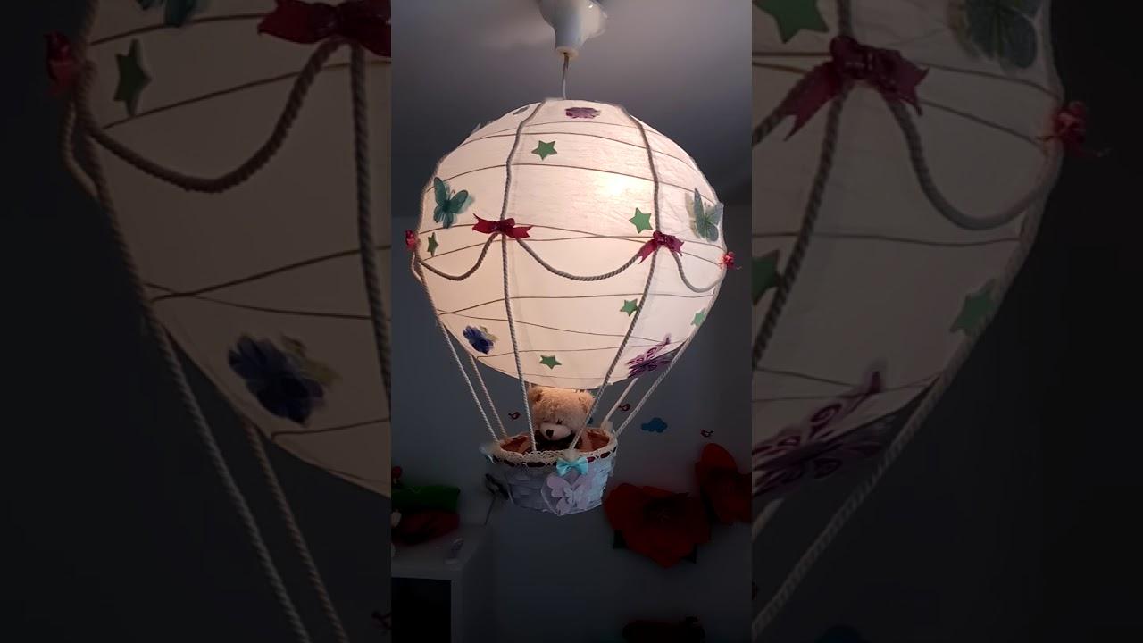 Hot Air Balloon Lamp Shade Silver Teddy Bear - YouTube