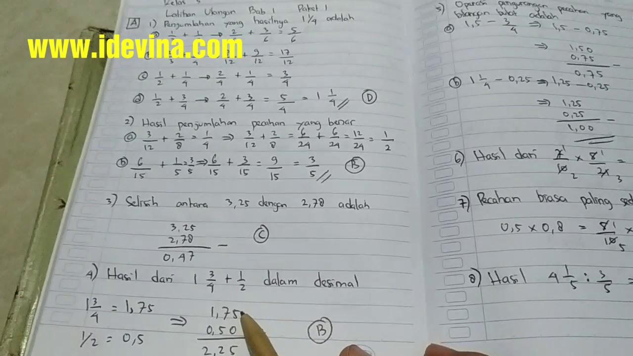 Pembahasan Esps Matematika Kelas 5 Bab 1 Latihan Ulangan Paket 1 A Youtube