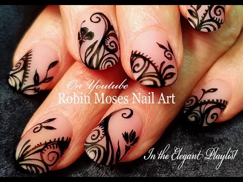Nude Matte filigree Nail Art Design Tutorial