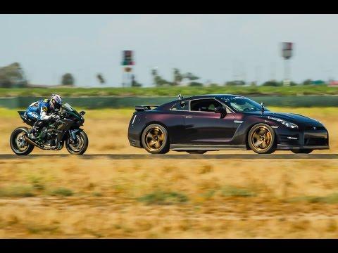 Kawasaki H2R vs 1350hp Nissan GTR - 1/2 Mile Airstrip Race 3