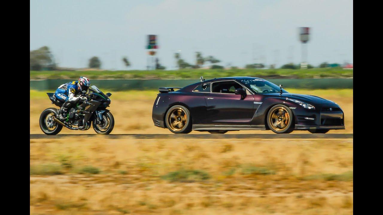 画像: Kawasaki H2R vs 1350hp Nissan GTR - 1/2 Mile Airstrip Race 3 www.youtube.com