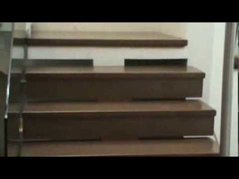 Forrado de escaleras flotadas en encino solido youtube for Escaleras retractiles