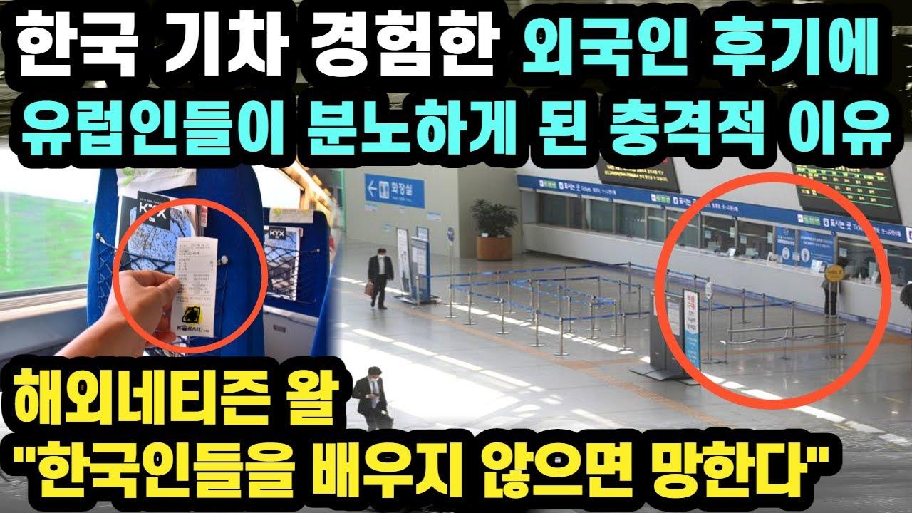 """한국 기차 경험한 외국인 후기에 유럽인들이 분노하게 된 충격적 이유 // """"한국인들을 배우지 않으면 망한다"""" [외국인반응]"""
