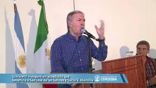 Schiaretti inauguró un acueducto que beneficia a San José de las Salinas y Lucio V  Mansilla