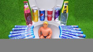 Experiment !! Stretch Armstrong VS Cola, Mtn Dew, 7Up, Pepsi, Fanta, Monster and Mentos in Toilet