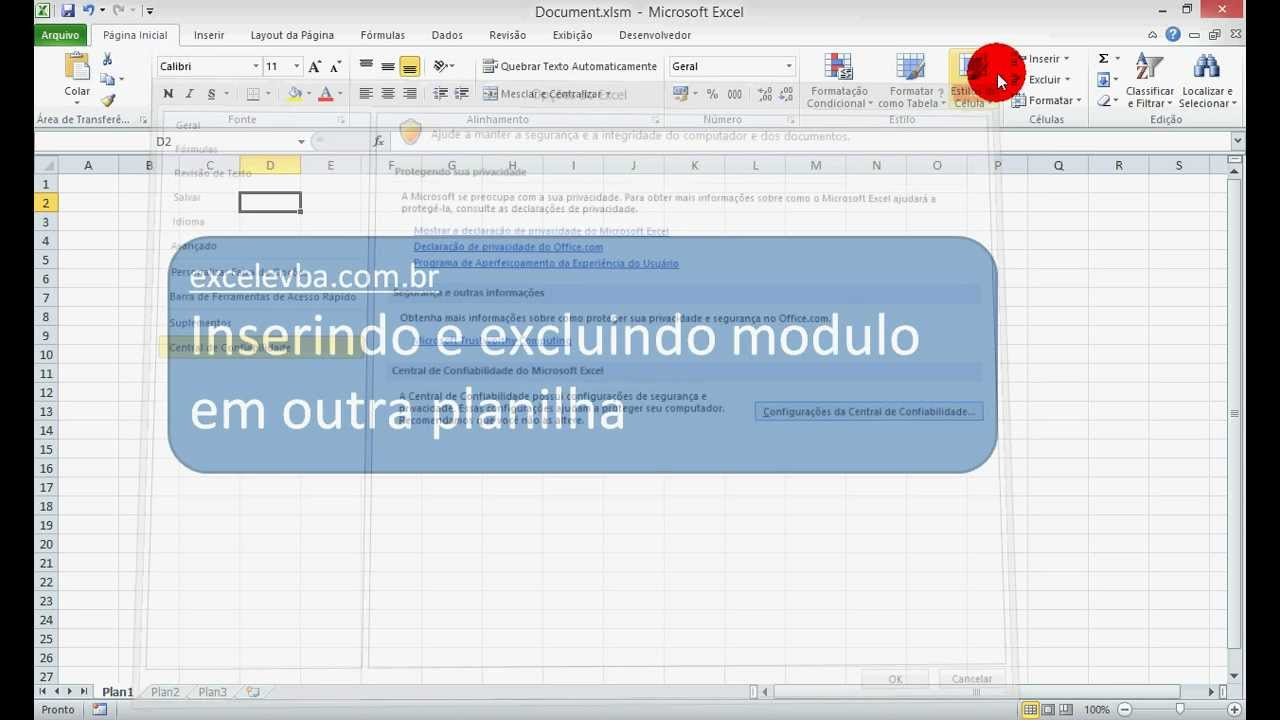 Excel E Vba Inserir E Excluir Modulo Em Outra Planilha