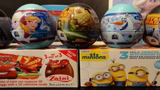 Frozen Cars Star Wars Minions 12 Kinder Surprise Eggs thumbnail