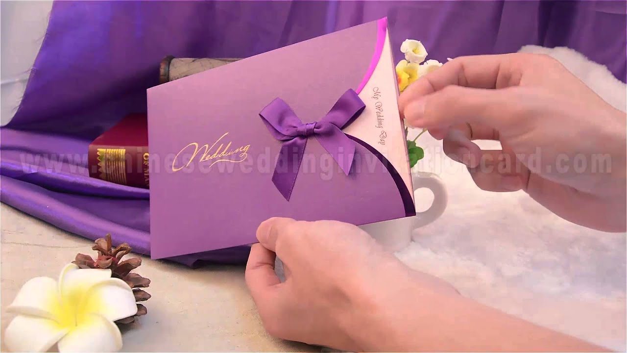 Fashionable wedding invitation card with purple ribbon - YouTube