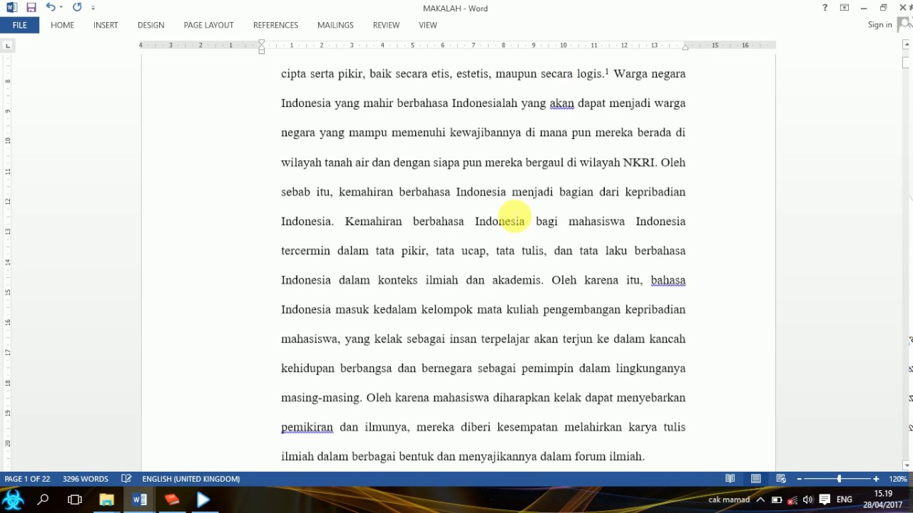 Cara Membuat Footnote Catatan Kaki Di Mc Word Easy Tutorial Youtube