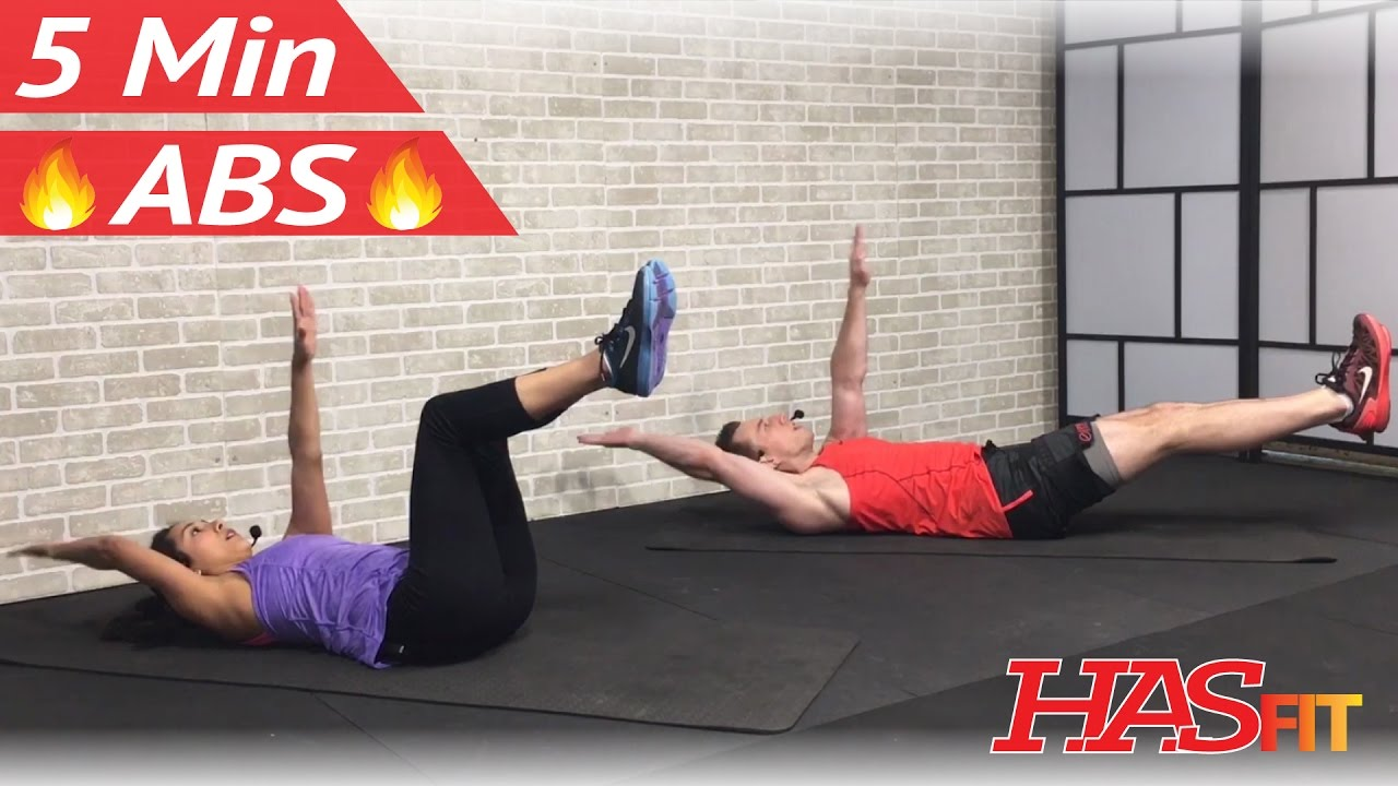 5 Minute Abs Workout For Women Men At Home No Equipment