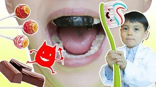 사탕 초코렛 먹고 꼭 이를 닦아요!! 양치질로 세균들을 없애자!! 치과병원놀이- 마슈토이 Mashu ToysReview
