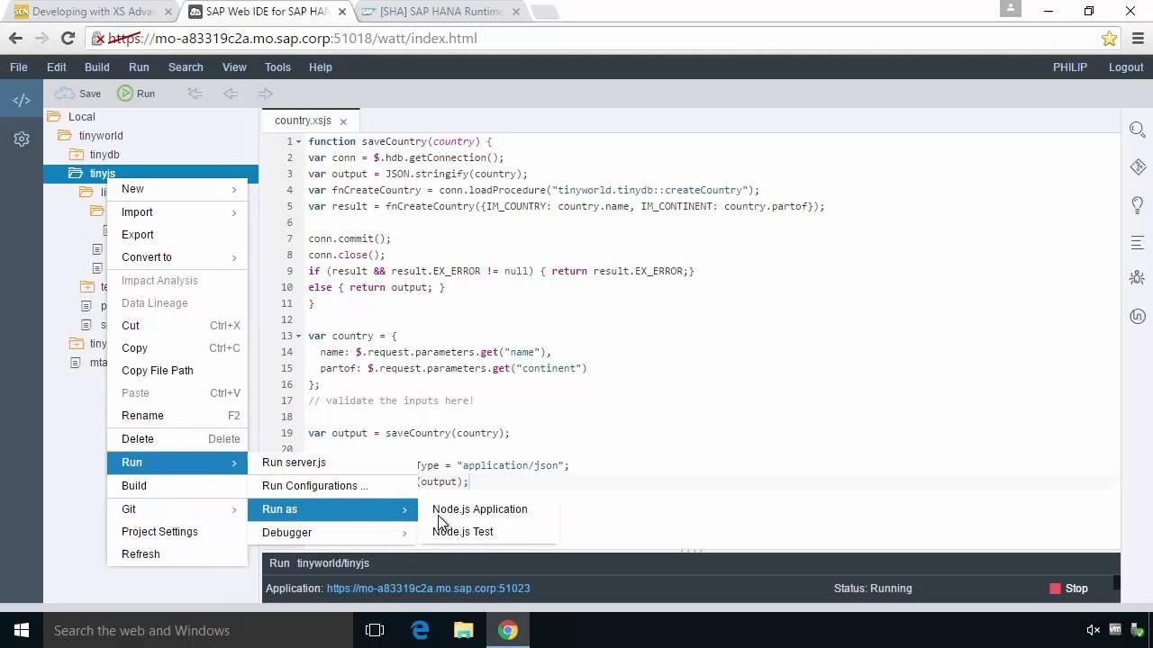 SAP HANA Academy - Web IDE for HANA: Add Node js Business Logic