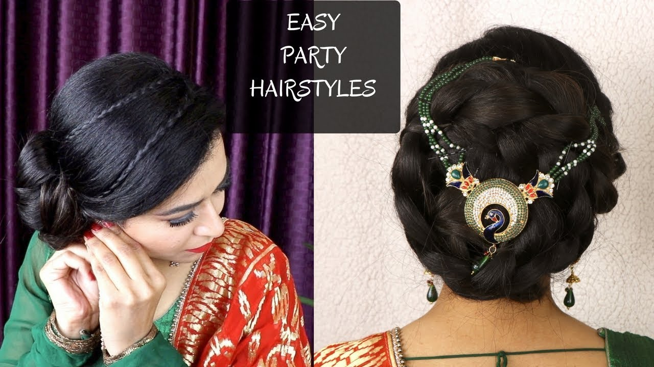 diy | quick indian bun hairstyle / easy hairstyles for indian party /  heatless hairstyles