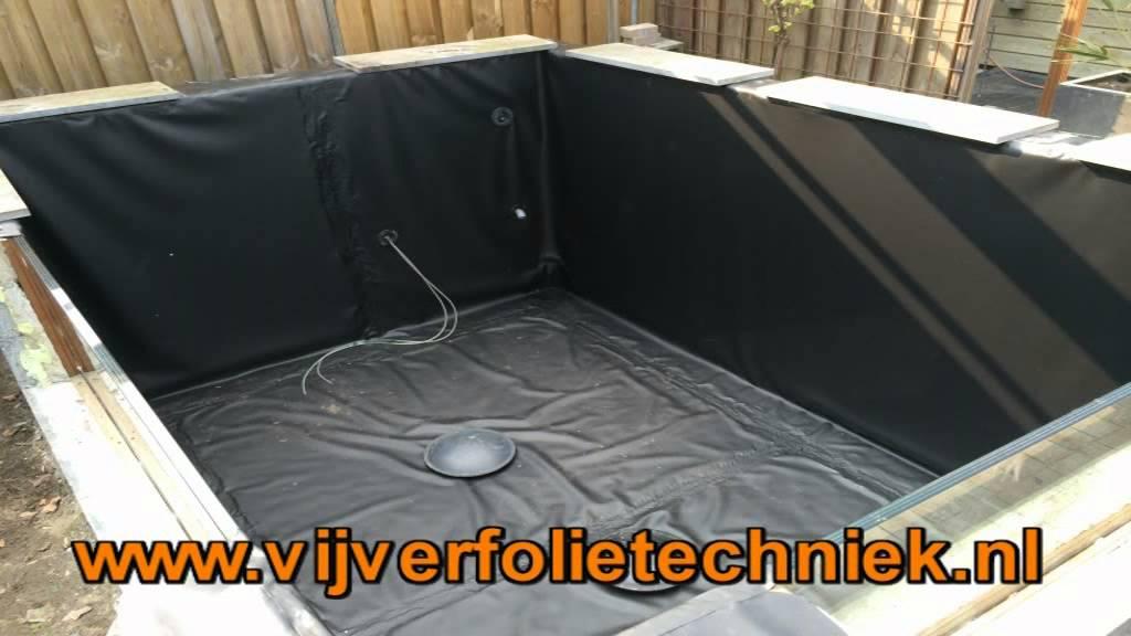 Het lassen en monteren van een koi vijver op maat zonder for Epdm rubberfolie vijver