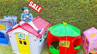 ALİ EVLER SATIYOR Funny Kids pretend play SALE TOY PLAYHOUSE in the garden and Ride on Power Wheels