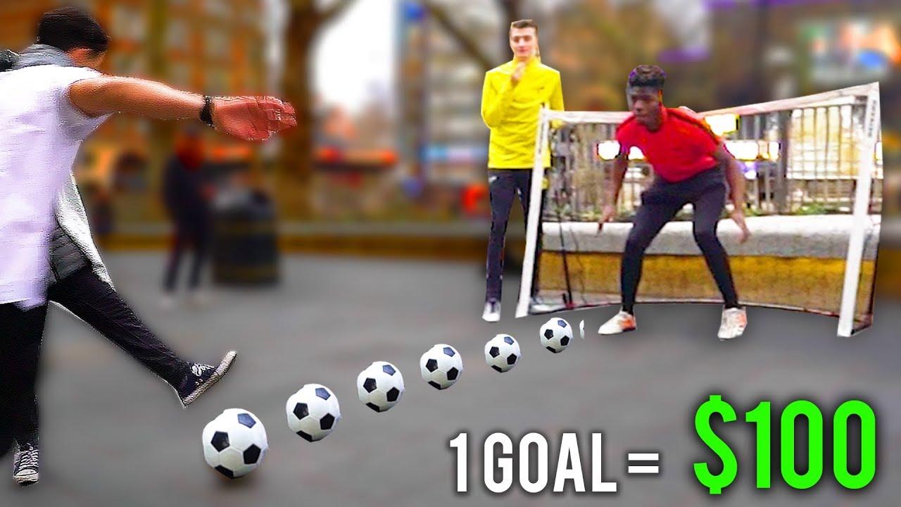 """""""WENN SIE EIN ZIEL ERZIELEN, GEWINNEN SIE $ 100"""" - * 99% UNMÖGLICH * Soccer Challenge + video"""