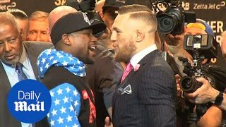 Mayweather and McGregor's press tour kicks off with a war of words - Daily Mail