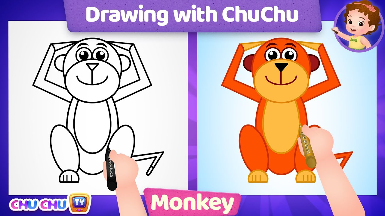 How to Draw a Monkey Step by Step? - Drawing with ChuChu - ChuChu TV Drawing Lessons for Kids