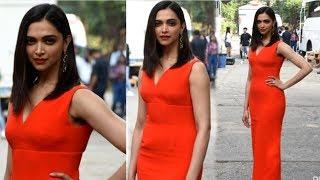 Deepika Padukone GORGEOUS  Looks In Red DRESS At Chhapaak Promotion