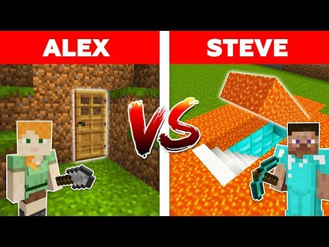 MINECRAFT - ALEX vs STEVE! LAVA SECRET BASE vs EASY HIDDEN HOUSE / Minecraft Animation part 8