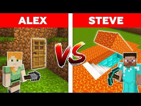 MINECRAFT - ALEX vs STEVE! LAVA SECRET BASE vs EASY HIDDEN HOUSE / Minecraft Animation part 8