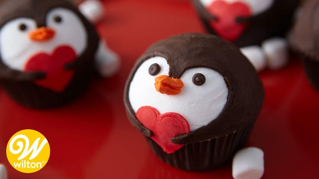 How To Make Valentineu0027s Penguin Cupcakes   YouTube