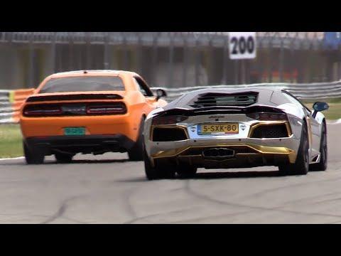 2017 Dodge Challenger Srt Hellcat >> Lamborghini Aventador vs Dodge Challenger SRT Hellcat vs Gallardo! - YouTube