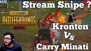 Kronten Killed Carry Minati, Kronten Ne Stream Snipe Kiya ? Carry Vs Kronten best Pubg Highlight