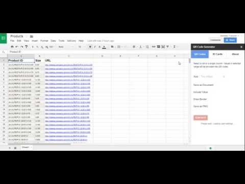 How to auto generate QR codes in Google Spreadsheets