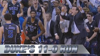 Duke Ends Game On Decisive 11-0 Run to Take Down Undefeated Virginia